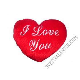 Сърце плюш с надпис I love you