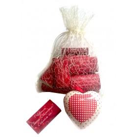 Комплект 10 мини шоколадчета с надпис и керамично сърце