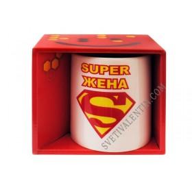 "Чаша с надпис ""Супер жена"" за супер жени"