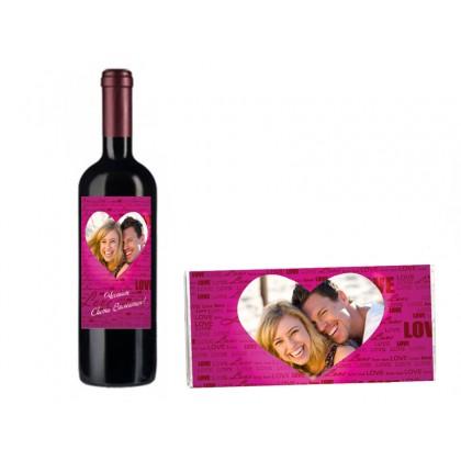 Бутилка вино и шоколад с Ваши снимка и текст